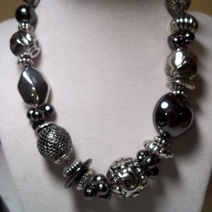 Silver and Black Chunky Necklace ECLECTIC NWT